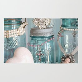 Vintage Mason Jars Shabby Chic Cottage Jeweled Decor Rug