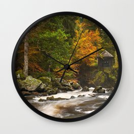 III - River through autumn colours at the Hermitage, Scotland Wall Clock