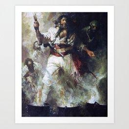 Blackbeard in Smoke and Flames Art Print