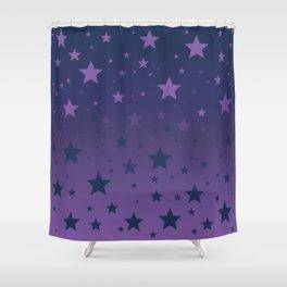 Blue to Indigo Ombre Stars Pattern Shower Curtain