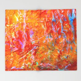 Abstract with Circle in Gold, Red, and Blue Throw Blanket