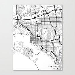 San Diego Map, California USA - Black & White Portrait Canvas Print