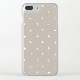 Pattern - crosses on beige/brown background Clear iPhone Case