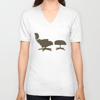 eames V-neck T-shirts featuring Eames Lounge Chair and Ottoman by Green Bird Press