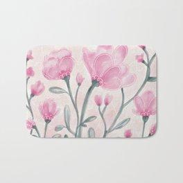 Pink Flower Cuttings Bath Mat