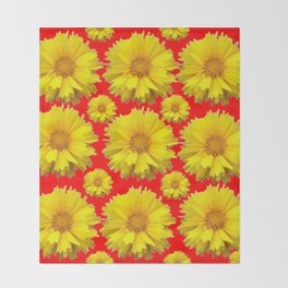 """YELLOW COREOPSIS """"TICK SEED"""" FLOWERS RED PATTERN Throw Blanket"""