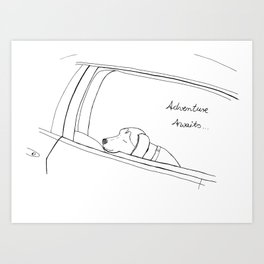 Beagle looking out the car window drawing Art Print