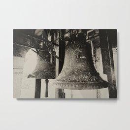 Church Bells, Piran, Mediterranean Sea, Film Photo, Black and White, Sepia toned Metal Print