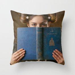 Girl Smiling Behind a Book Throw Pillow