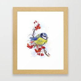 Watercolor Titmouse Great tit winter bird Framed Art Print