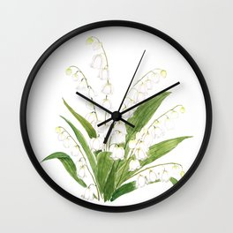 white lily of valley Wall Clock