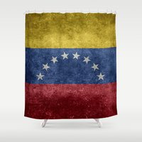 1989 Shower Curtains featuring The national flag of the Bolivarian Republic of Venezuela -  Vintage version by Bruce Stanfield