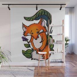 Purple Berry Fox Wall Mural