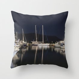 Marina at Night Throw Pillow