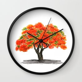 flame of the forest tree Wall Clock
