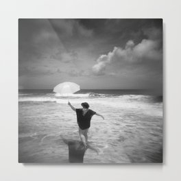 The Girl with the Umbrella - Black and White Photograph  Metal Print