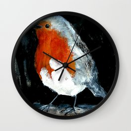 Robin British Wildlife Wild Bird Acrylic Painting Wall Clock
