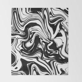 Liquid Marble B&W 028 Throw Blanket