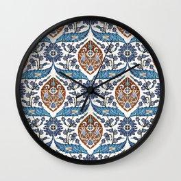 Iznik Tile Pattern Blue White Brown Wall Clock