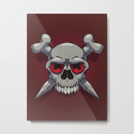 Skull on Crimson Metal Print