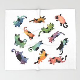 12 cats Throw Blanket