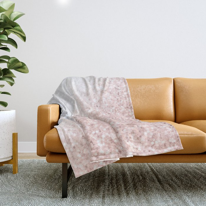 She Sparkles Rose Gold Pink Marble Luxe Geometric Throw Blanket