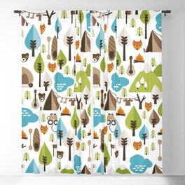 Wild camping trip with fox and wild animals illustration Blackout Curtain