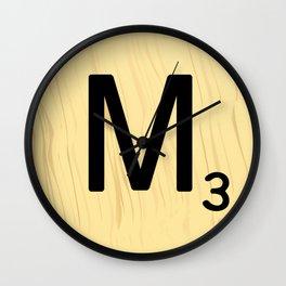 Scrabble M Decor, Scrabble Art, Large Scrabble Tile Initials Wall Clock
