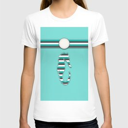 Teal Sea Horse Stripes Animal Design Pattern T-shirt
