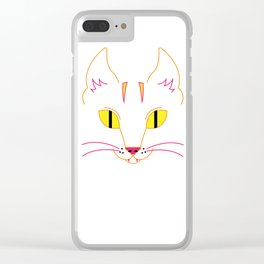 Funky Cat (yellow) Clear iPhone Case
