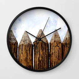 My House Is My Castle. Palisade Fence, Huge Wooden Logs, Cloudy Sky Wall Clock