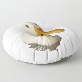 Close Up Portrait of A Cute Domestic White Duck Vector Style Floor Pillow
