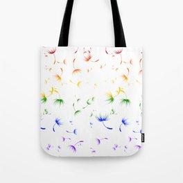 Dandelion Seeds Gay Pride (white background) Tote Bag