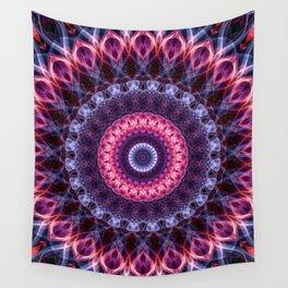 Violet and pink glowing mandala Wall Tapestry