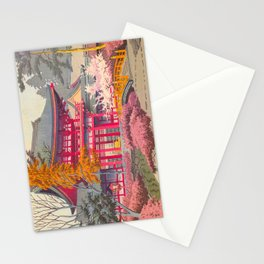 Japanese Woodblock Print Vintage Bright East Asian Red Pagoda Spring Garden Stationery Cards