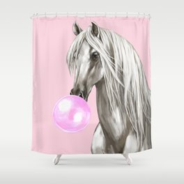 White Horse with Bubble Gum in Pink Shower Curtain