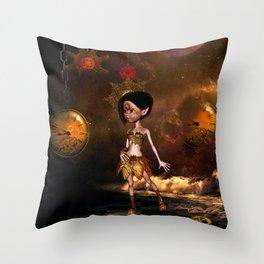 Steampunk, cute little steampunk girl Throw Pillow