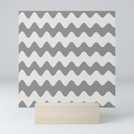 Pantone Pewter Gray Soft Zigzag Rippled Horizontal Line Pattern Mini Art Print