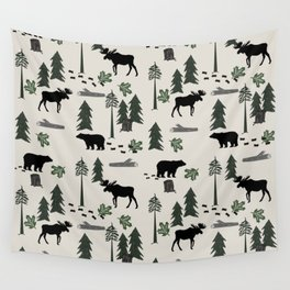 Camping woodland forest nature moose bear pattern nursery gifts Wall Tapestry