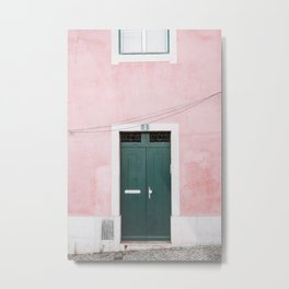 Green Door with Pink Wall in Alfama in Lisbon, Portugal | Travel Photography | Metal Print