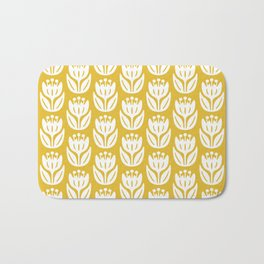 Mid Century Modern Flower Pattern Mustard Yellow 333 Bath Mat
