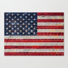 America flag on a brick wall Canvas Print
