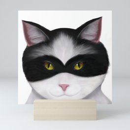 They call me the Masked Cat Mini Art Print