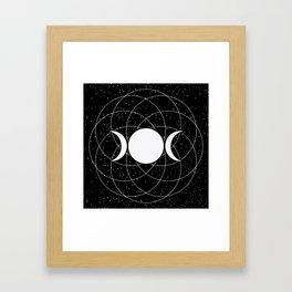 Triple Goddess Moon in Black and White Framed Art Print