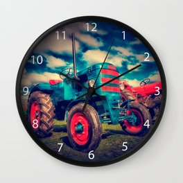 Cool Blue Red Vintage Tractor Wall Clock