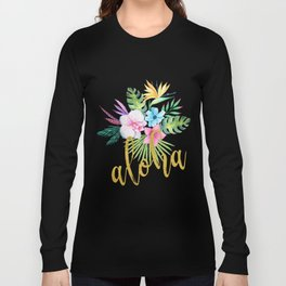 Hawaiian multicolored floral bouquet with faux gold aloha brush script Long Sleeve T-shirt