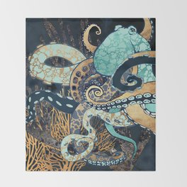 Metallic Octopus II Throw Blanket