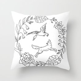 Fox and Loon Playing in Floral Wreath Design — Floral Wreath with Animals Illustration Throw Pillow
