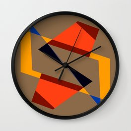 geometric symmetry orange and yellow Wall Clock