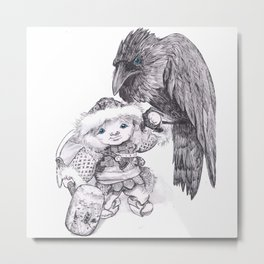 Odin and Huginn Metal Print